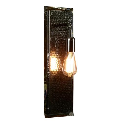 Rochdale Rectangular Nickel Hammered Wall Light