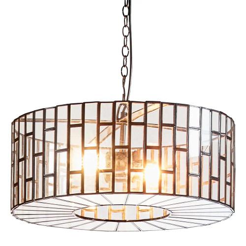 Monte Drum Black Glass Pendant Light