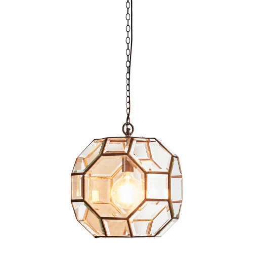 Solara Geometric Brass Glass Pendant Light
