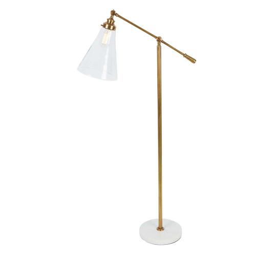 Vermont Marble Base Brass Floor Lamp