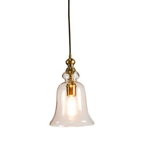 Voli Small Glass Bell Brass Pendant Light