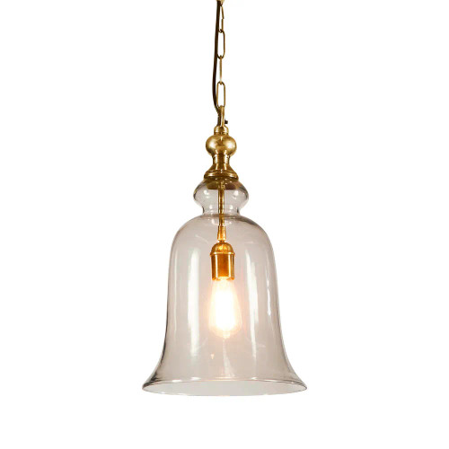 Voli Large Glass Bell Brass Pendant Light