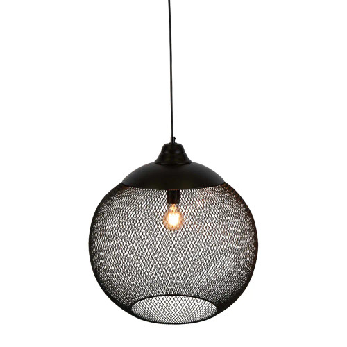 Liam Round Black Wire Cage Industrial Rustic Pendant Light