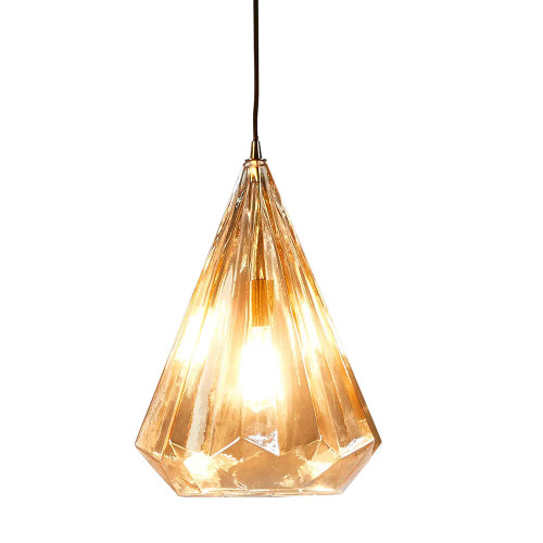Narrow Champagne Faceted Glass Pendant Light