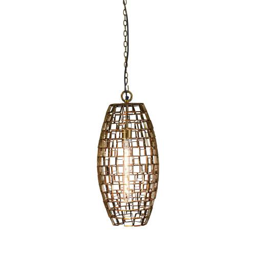 Danni Oval Geometric Antique Brass Pendant Light