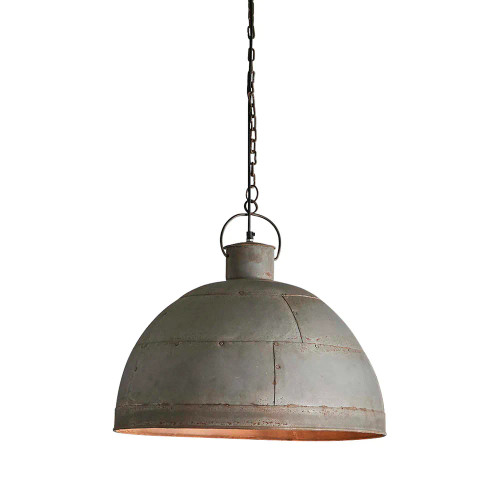 Griffin Dome Vintage Grey Riveted Iron Rustic Pendant Light