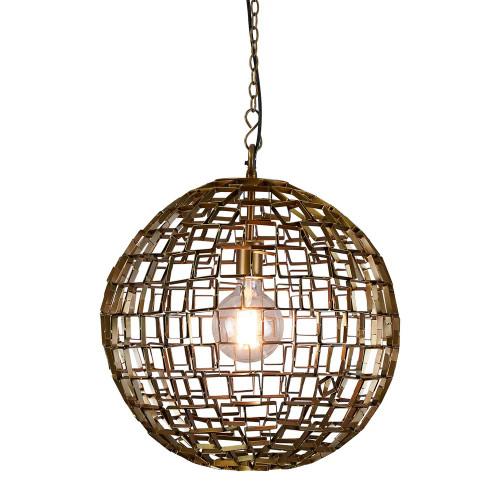 Danni Round Geometric Antique Brass Pendant Light