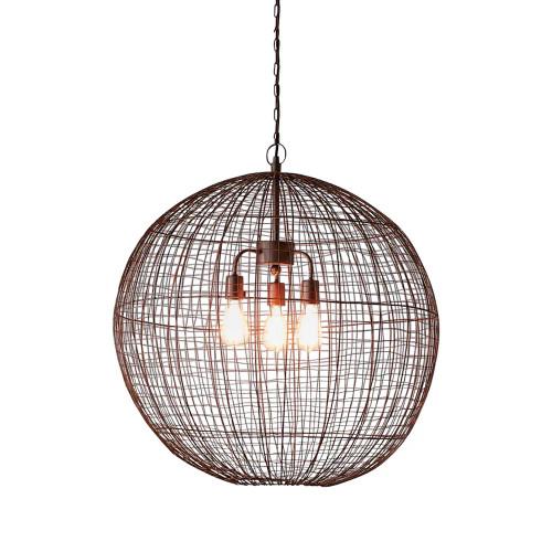 Loris Round Antique Copper Woven Wire Metal Pendant Light