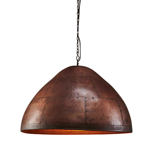 Mustang Dome Copper Iron Riveted Pendant Light