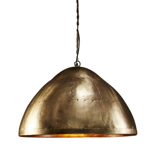 Mustang Dome Brass Iron Riveted Industrial Pendant Light