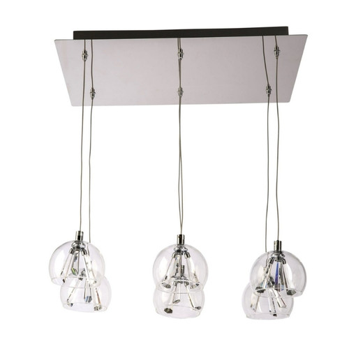 Olympia 6 Light Square Plate Clear Glass Cluster Pendant Chandelier