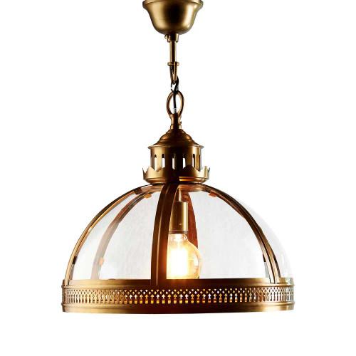 George Dome Antique Brass Glass Pendant Light