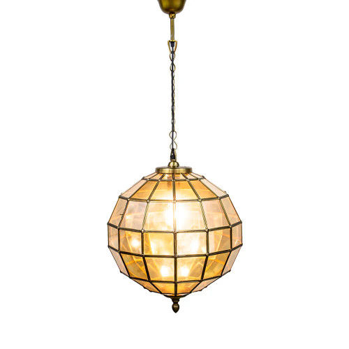Sundance Round Antique Brass Glass Pendant Light