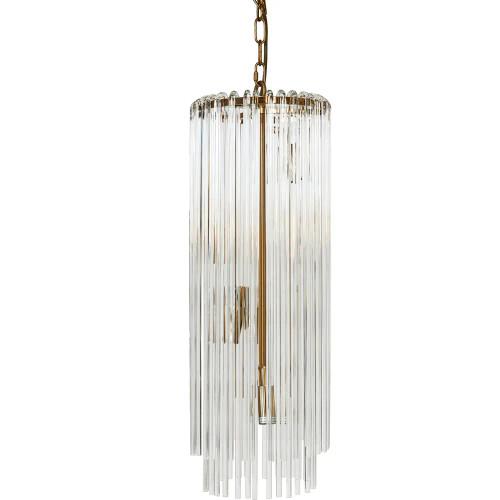 Paloma Long Brass Clear Pendant Chandelier