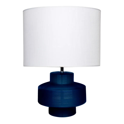 Bianca Ribbed Navy Blue Glazed Ceramic with White Shade Table Lamp
