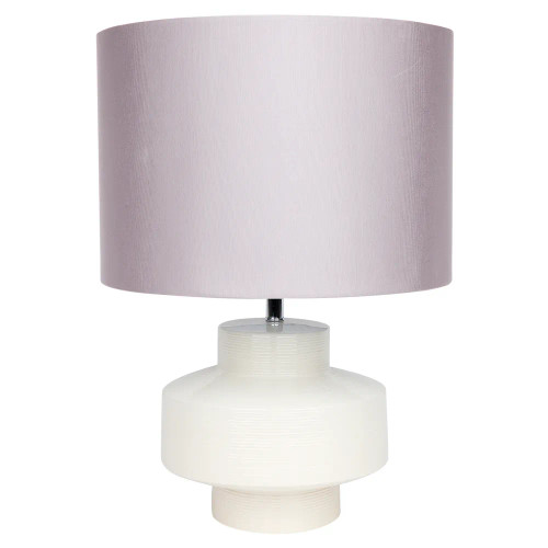 Bianca Ribbed White Glazed Ceramic with Grey Shade Table Lamp
