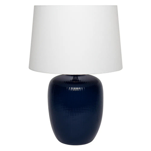 Claude Navy Blue Cross Pattern with White Shade Table Lamp