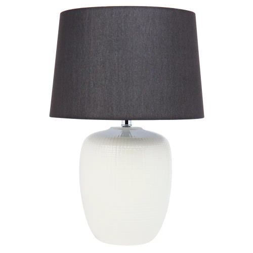 Claude Off White Cross Pattern with Black Shade Table Lamp