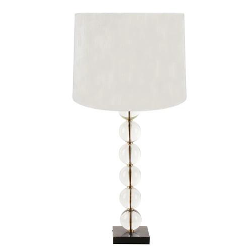Maurice Crystal Spheres Brass Stem Table Lamp
