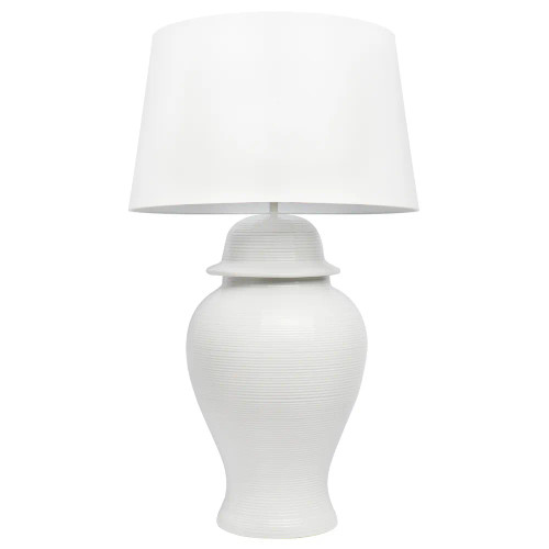 Travis White Ceramic with White Shade Classic Table Lamp