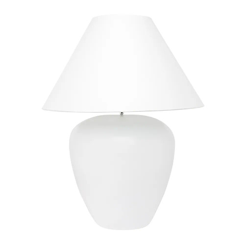 Germaine White with White Shade Ceramic Table Lamp