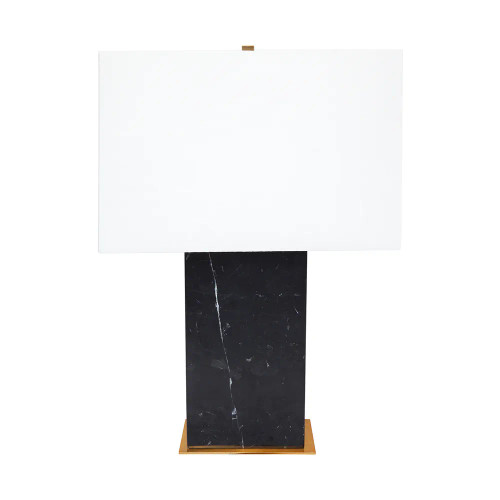 Octavie Black Marble with White Shade Table Lamp