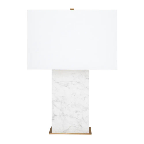 Octavie White Marble with White Shade Table Lamp