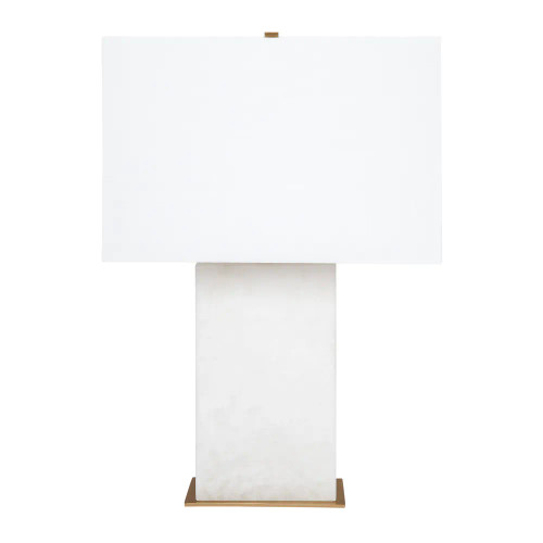 Octavie White Alabaster with White Shade Table Lamp
