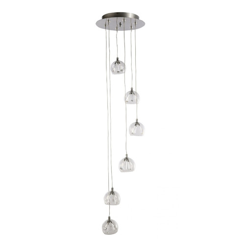 Olympia 6 Light Round Plate Clear Glass Cluster Pendant Chandelier