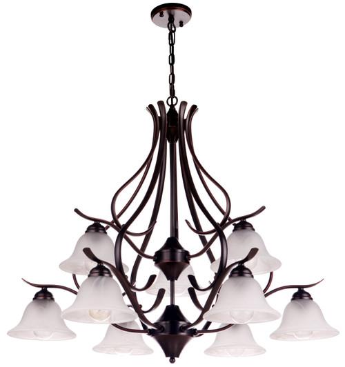 Pittsburg Classical Bronze 9 Light Alabaster Glass Pendant Light
