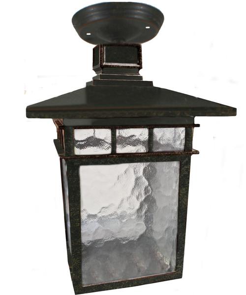 Promenade Medium Overhang Bronze Lantern Close To Ceiling Light