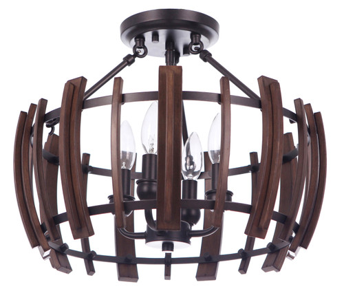 Lakewood Semi-Flush 4 Light Bronze Circular Pendant Light