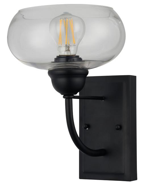 Aspen Matt Black Clear Shade Wall Light