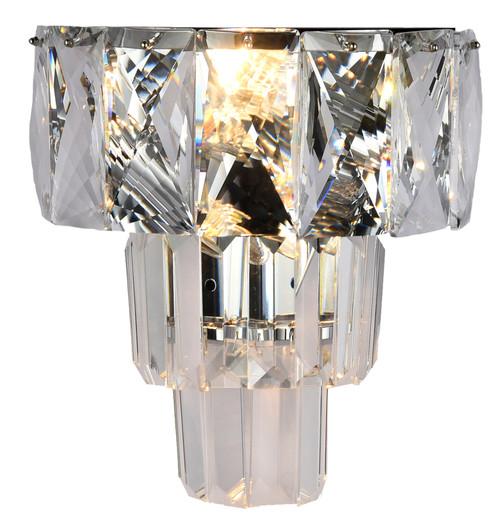 Waterfall Three-Tiered Chrome Glass Crystal Wall Light