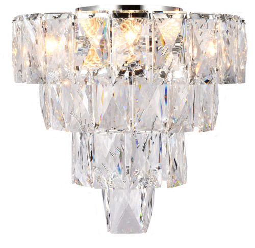 Waterfall Flush Four-Tiered Chrome Glass Crystal Close To Ceiling Light
