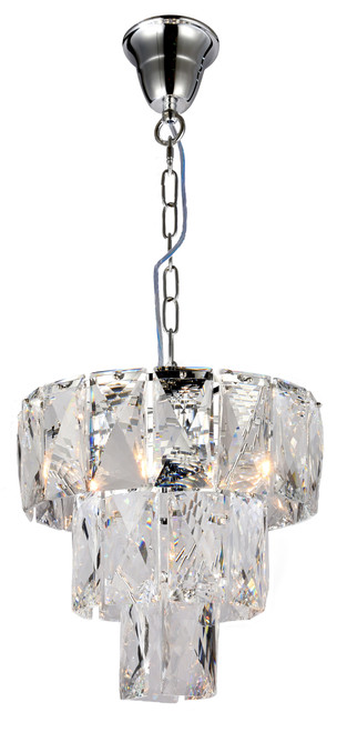 Waterfall Three-Tiered Chrome Glass Crystal Chain Pendant Light