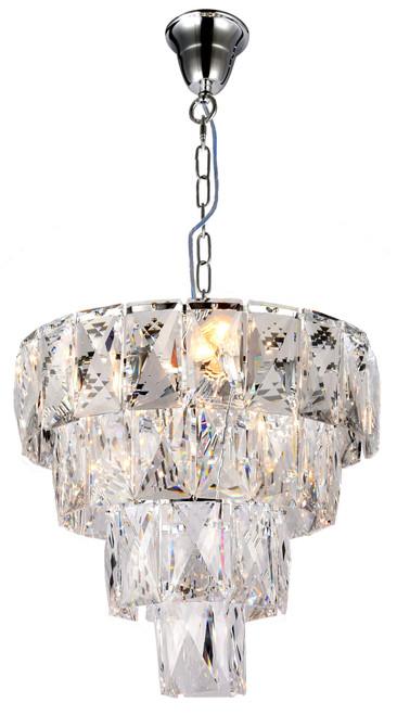 Waterfall Four-Tiered Chrome Glass Crystal Chain Pendant Light