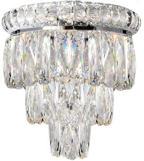 Emporia Three-Tiered Chrome Glass Crystal Wall Light