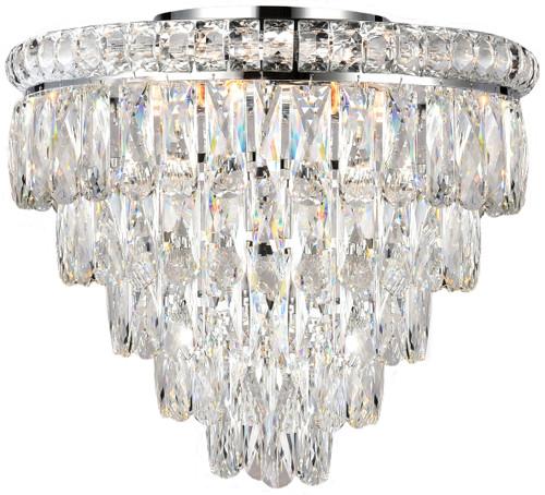 Emporia Flush Five-Tiered Chrome Glass Crystal Close to Ceiling Light
