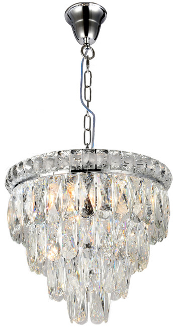 Emporia Four-Tiered Chrome Glass Crystal Chain Pendant Light