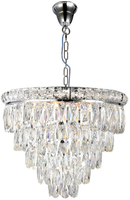 Emporia Five-Tiered Chrome Glass Crystal Chain Pendant Light