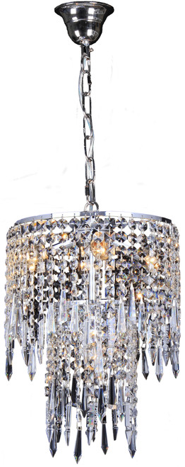 Hollywood Two-Tiered Chrome Glass Crystal Dangling Pendant Light