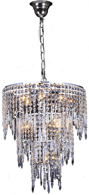Hollywood Three-Tiered Chrome Glass Crystal Dangling Pendant Light