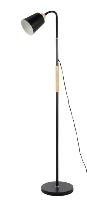 Bonne Minimalist Black and Wood Adjustable Floor Lamp