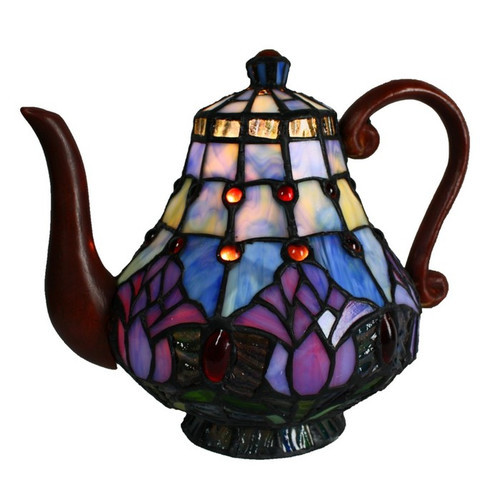 Tulip Leadlight Teapot Lamp