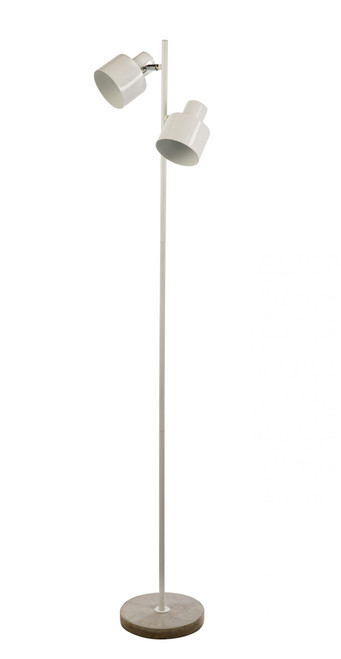 Reign Adjustable Twin Light White Floor Lamp
