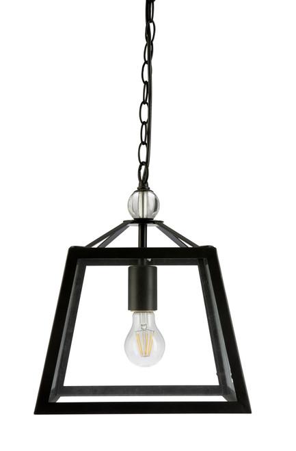 Tamarka Black Frame Glass Lantern Pendant Light