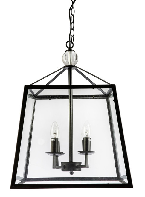 Tamarka Quadro Lights Black Frame Glass Lantern Pendant Light