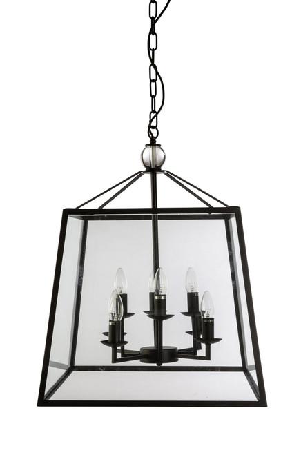 Tamarka Octa Lights Black Frame Glass Lantern Pendant Light