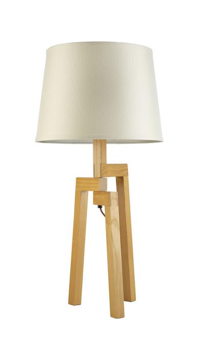 Tripod Natural Wood Angled Table Lamp
